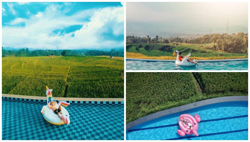 Kolam Renang Villa Pasir Bungur di Bandung, Punya View Hamparan Sawah Hijau yang Menyejukkan Mata!
